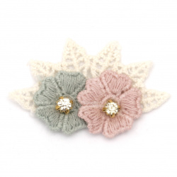 Textile element for decoration flowers with crystal 45x30 mm color mix pink, blue, white -5 pieces