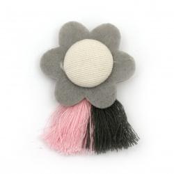 Брошка текстил цвете с пискюли 50x35 мм цвят сив,розов,бял -2 броя