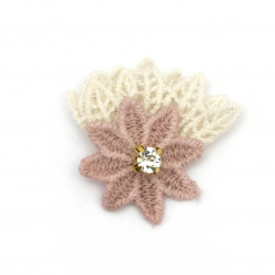 Textile element for flower decoration with crystal, lace leaves 35x35 mm color pink, white -5 pieces