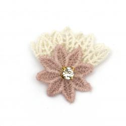 Текстилен елемент за декорация цвете с кристал, листа дантела 35x35 мм цвят розов, бял -5 броя