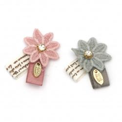 Element textil pentru decorarea florilor cu panglică și cristal 40x30 mm amestec de culori roz, alb, albastru -5 bucăți