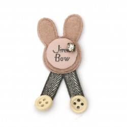 Textile element for decoration bunny with inscription and crystal 50x25 mm color pink, gray -5 pieces