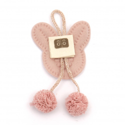 Textile element for decoration bunny with pompoms 70x40 mm pink -5 pieces