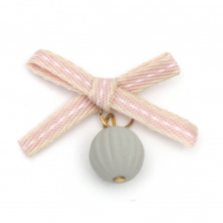 Textile element for decoration ribbon with bead 30x30 mm color pink, gray -5 pieces