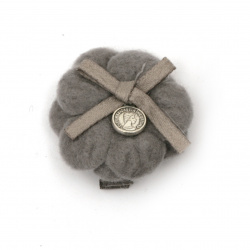 Metal clip, textile flower with ribbon and metal element 35x35 mm color gray -2 pieces