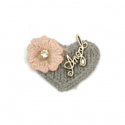 Textile element for heart decoration with crystal flower and metal inscription 35x30 mm color gray, pink -5 pieces