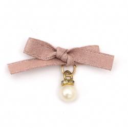 Текстилен елемент за декорация панделка с перла и кристали 30x25 мм цвят розов -5 броя