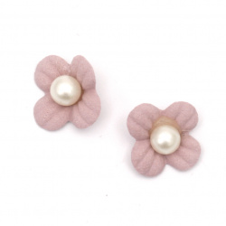 Flower made of suede paper with pearl 18 mm color light pink pastel - 10 pieces