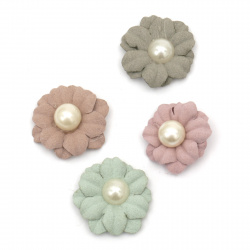 Flower made of suede paper with pearl 30 mm color mix - 5 pieces