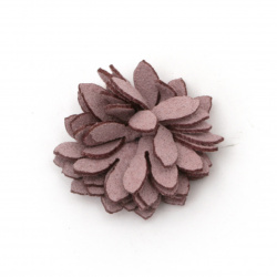 Текстилен елемент за декорация цвете 25 мм цвят розов -5 броя
