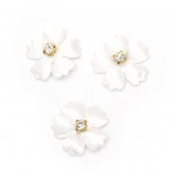 Element textil pentru decorarea florilor cu cristal 25 mm culoare alb -10 bucăți