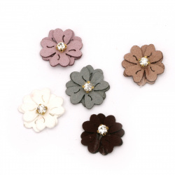 Textile element for decoration suede flower with crystal 20 mm color mix -10 pieces