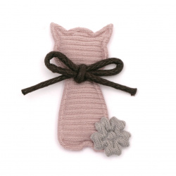 Textile element for decoration kitten with ribbon 40x20 mm color gray, pink -5 pieces