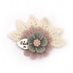 Textile element for decoration fimo flower with lace 35x45 mm color multicolor -2 pieces