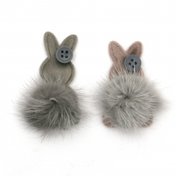 Textile element for decoration bunny with leather pompom 45x37 mm color mix gray, pink -2 pieces