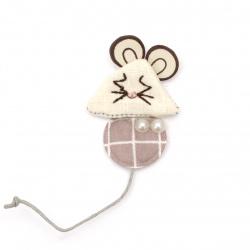 Element textil pentru decorare mouse cu perle 50x34 mm culoare multicolor -2 bucăți
