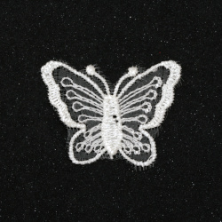 Lacy element  for decoration butterfly 40x32 mm color white -10 pieces