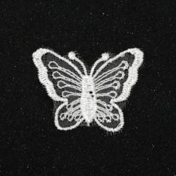 Element dantelă pentru decor fluture 40x32 mm culoare alb -10 bucăți