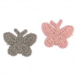 Кnitted Element for decoration butterfly 30x25 mm color mix pink, gray -10 pieces