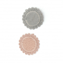 Textile element for decoration round 30 mm color mix pink, gray -10 pieces