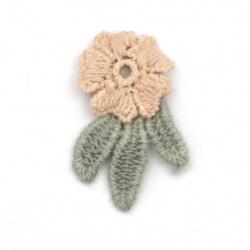 Element dantelă pentru decorarea florilor cu frunze 33x20 mm roz, gri -10 bucăți