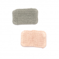 Knitted Element  for decoration emblem 42x27 mm color mix pink, gray -5 pieces
