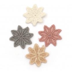 Елемент дантела за декорация цвете 25 мм цвят микс -10 броя