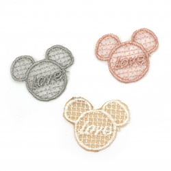 Textile element for decoration Mickey Mouse 30x27 mm color mix -5 pieces