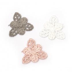 Element dantelă pentru decorarea florilor 30 mm amestec de culori -10 bucăți