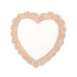 Καρδιά 56x53 mm, τούλι και δαντέλα, ροζ -5 κομμάτια