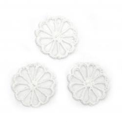 Λουλούδι, δαντέλα και τούλι 25 mm λευκό -10 τεμάχια
