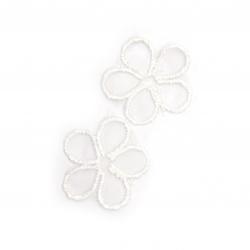 Element dantelă pentru decorarea florilor 30 mm culoare alb -10 bucăți