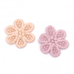 Елемент дантела за декорация цвете 38 мм цвят микс лилав, праскова -10 броя
