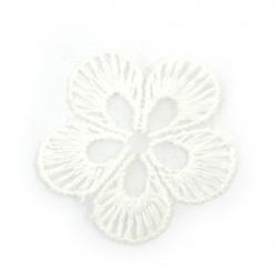 Елемент дантела за декорация цвете 40 мм цвят бял -10 броя