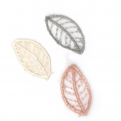Lacy element for decoration leaf30x16 mm color mix pink, gray, cream -10 pieces