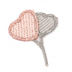 Element textil pentru decorarea inimilor 35x45 mm culoare roz, gri -5 bucăți