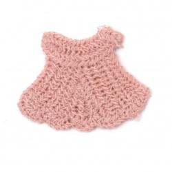 Textile element for decoration figurine 28x35 mm color pink -5 pieces