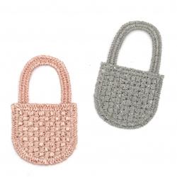 Елемент текстил за декорация чанта 50x30 мм цвят микс сив, розов -5 броя