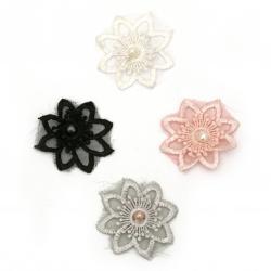 Елемент дантела за декорация цвете с перла 50 мм цвят микс -5 броя