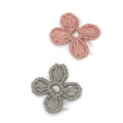 Element lace fordecoration flower  16 mm color mix gray, pink -20 pieces