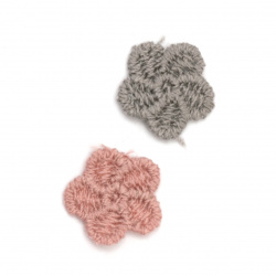Елемент дантела за декорация цвете 16 мм цвят микс сив, розов -10 броя