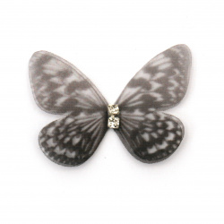 Organza butterfly with crystal 30x25 mm -5 pieces