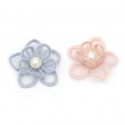 Element dantelă pentru decorarea florilor cu perle 45 mm mix culori -2 bucăți