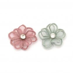 Element dantelă pentru decorarea florilor cu cristal 45 mm amestec culori -2 bucăți
