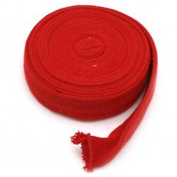 Лента плетена текстил тръба 10-40 мм червено, сиво -1 м