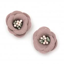 Цвете с тичинки от велурена хартия 20x10 мм цвят розово лилав пастел -2 броя