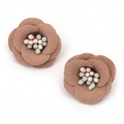 Цвете с тичинки от велурена хартия 20x10 мм цвят розов пастел -2 броя