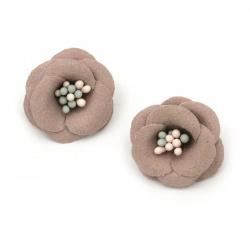Цвете с тичинки от велурена хартия 20x10 мм цвят пепел от рози пастел -2 броя