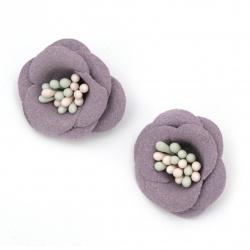 Цвете с тичинки от велурена хартия 20x10 мм цвят лилав пастел -2 броя