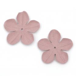 Цветя от велурена хартия 45 мм цвят розово лилав пастел -10 броя